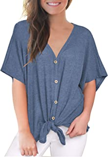 6f4fefce03a MIHOLL Womens Loose Blouse Short Sleeve V Neck Button Down T Shirts Tie  Front Knot Casual