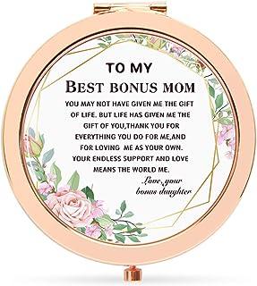 Onderful Retro Flowers Epoxy Travel Compact Pocket Makeup Mirror for Bonus Mom from Bonus Daughter,Birthday Wedding Ideas ...