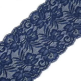 Yalulu 5 Yards x 15CM Width Embroidered Stretch Floral Lace Edge Trim Ribbon Applique DIY Garment Sewing Craft Wedding Decoration (Navy Blue)