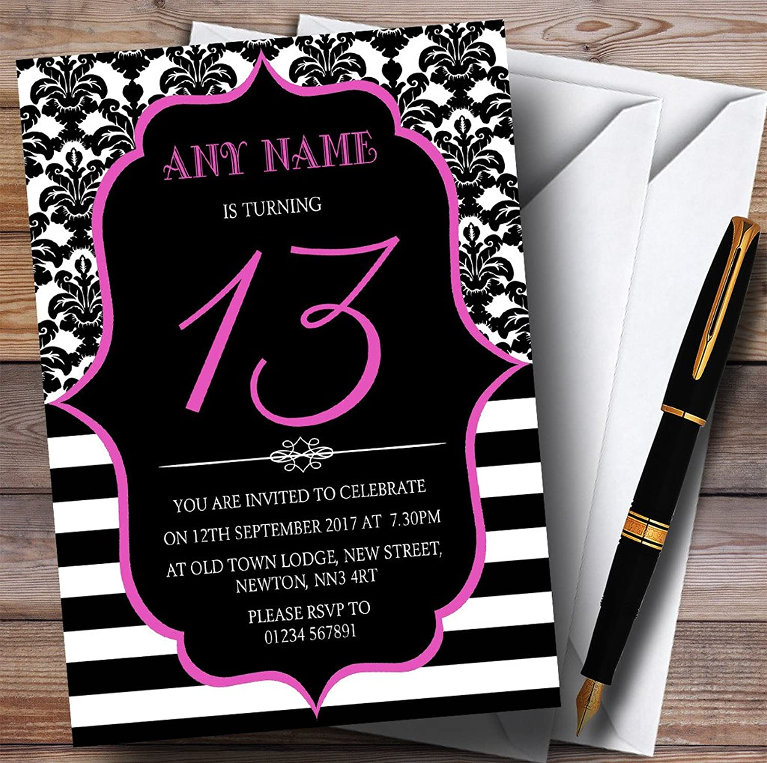 Vintage Damask Pink 13th Personalised Birthday Party Invitations