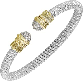 VAHAN Bracelets: Vahan Jewelry for Women: Vahan Sterling Silver and 14K Yellow Gold with 0.17cttw Round-Cut Diamonds (G-H Color, VS2-SI1 Clarity) 4mm Wide Bangle