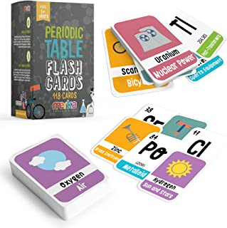merka 118 Kids Periodic Table of Elements Flash Cards with Beautiful Images Representing Each Chemistry Element - Educatio...