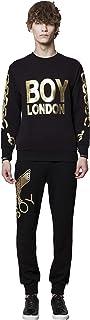 BOY LONDON 银链印在袖子运动衫上,黑色-金色 - BG4TL021