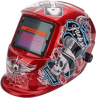 Leoneva Professional Solar Powered Adjustable Auto Darkening Welding Helmet, Cool Pattern Arc Tig Mig Welding Mask (Red Skull)