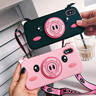 BONTOUJOUR Case for iPhone Xs Max, Super Cute 3D Piggy Pattern Serie Design Soft TPU Cover with Piggy Nose Ring Phone Holder Screen Protector Case - Pink Pig