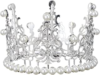 Cabilock Crown Cake Topper Decoration with Rhinestones and Pearls Vintage Style Royal Centerpiece Headband Crown for Party...
