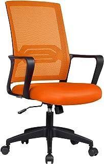 ComHoma 椅子 オフィスチェア メッシュ デスクチェア おしゃれ 通気性抜群 腰を使え 昇降機能付き 360度回転 子供 元気色 オレンジ (CH118-ORANGE)