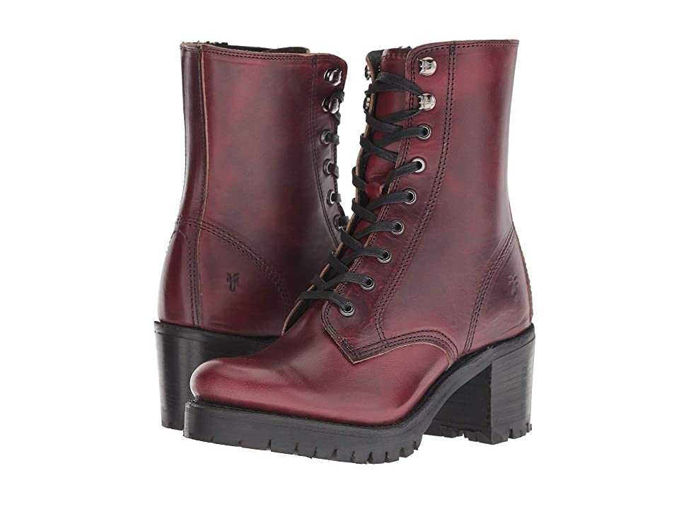 Frye Sabrina Moto Lace-Up (Oxblood) Women