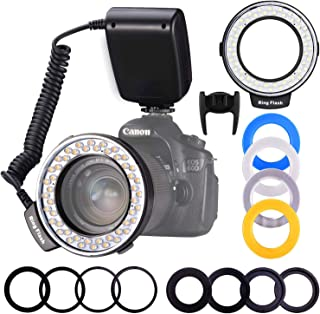 Ring Flash, Shotory LED Macro Ring Light with LCD Display, Adapter Rings and Flash Diffusers for Nikon Canon and Other DSLR Cameras (with 8 adapters)