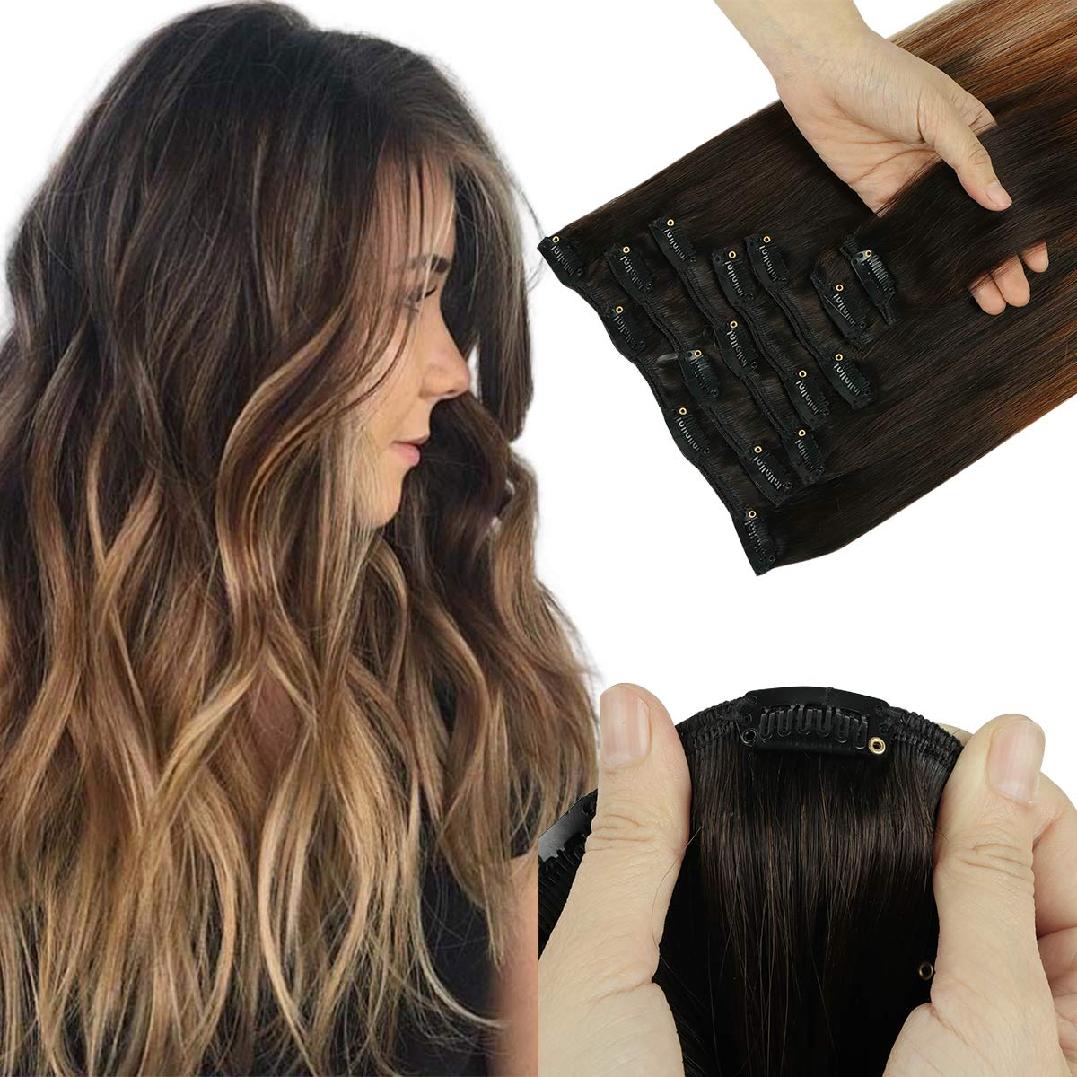 SWINGINGHAIR Reservation Real Human Hair Clip Ombre in B 4 years warranty Extensions Balayage