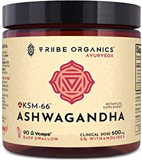 KSM-66 Ashwagandha Organic Root Extract - NO Additives Non-GMO - 90 VCAPS - Highest Potency 5% Withanolides - Stress & Anxiety Relief Cortisol Manager Adrenal Support Thyroid Support Sleep Aid
