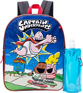 Captain Underpants Backpack Combo Set - Captain Underpants Boys' 3 Piece Backpack Set - Backpack, Waterbottle and Carabina...