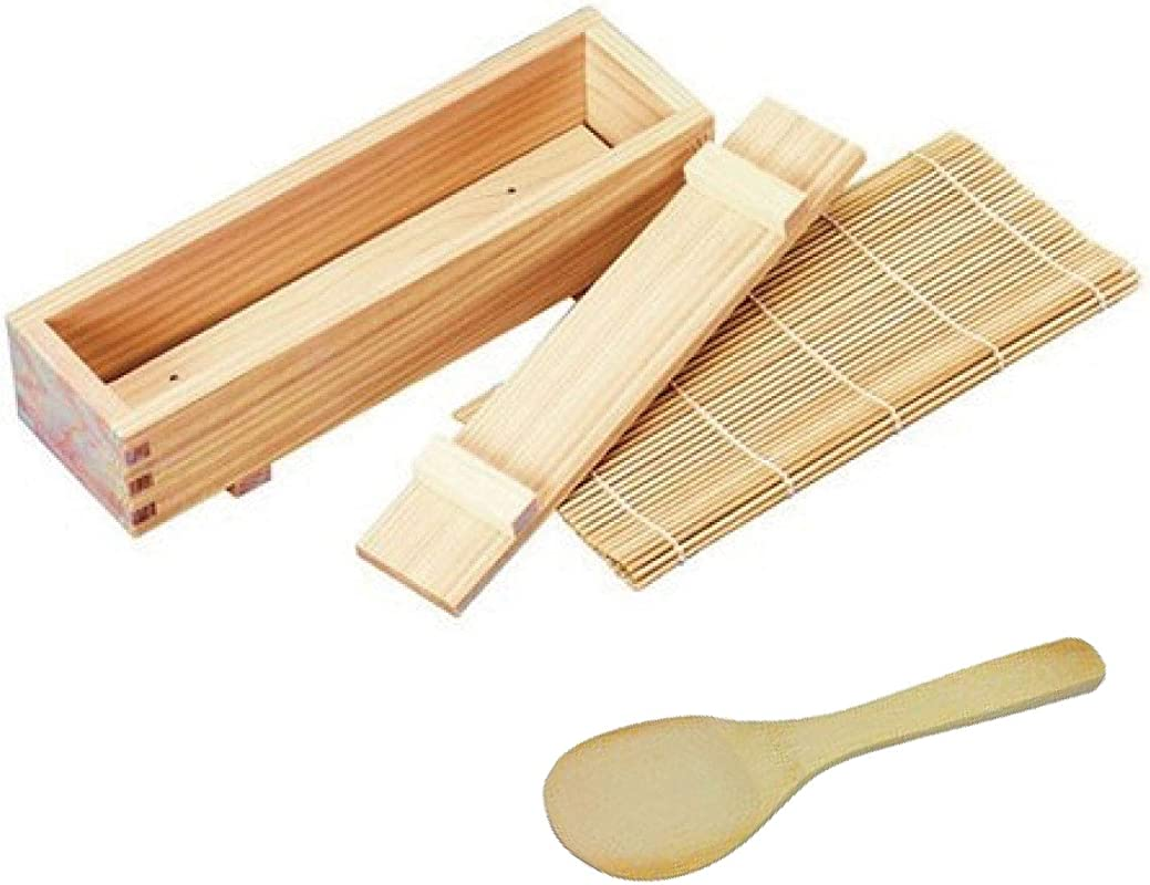 Japanese Sushi Making Kit With Rice Scoop Genuine Traditional Easy To Making Made Of Premium Quality Cypress For Chef And Beginners Made In Japan