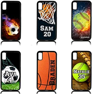 Personalized Sports case for iPhone XR XS MAX X 8 7 6 5 Softball Soccer Basketball