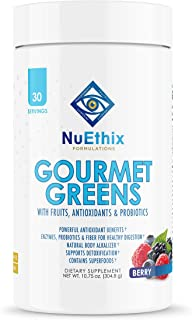 NuEthix Formulations Gourmet Greens Antioxidant Drink Powder with Fruit and Vegetable Superfoods, Antioxidants, and Probio...