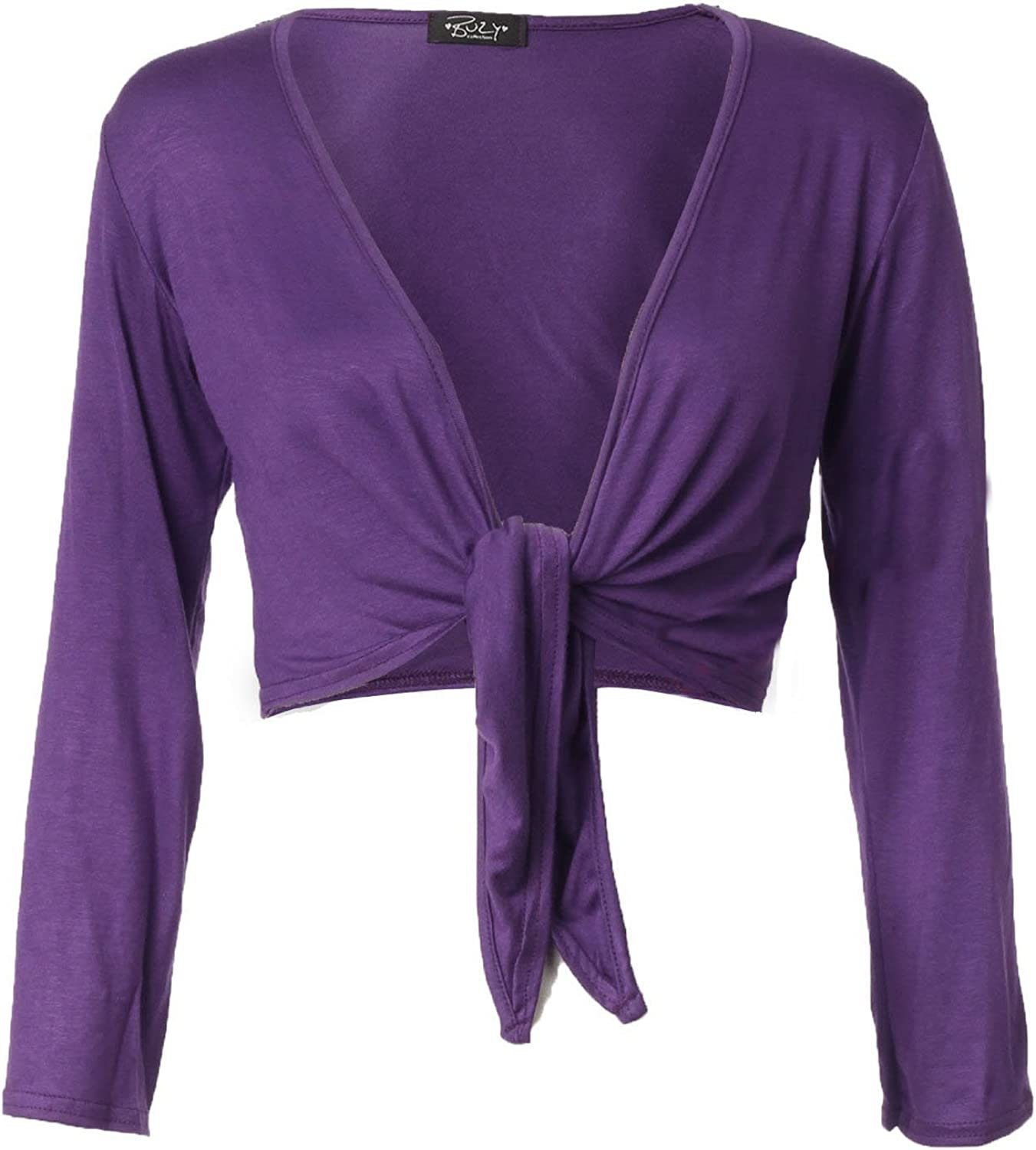 Forever Womens Plain Long Full Sleeves Front Tie Knot Shrug Stretchy Cardigan Top…