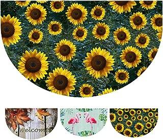 E-view Half Round Door Mat Fall Sunflower Entrance Rug Indoor Outdoor Welcome Mat, Durable Rubber Doormat Decorative Floor Mats for Entry Home Patio Garden