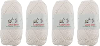 Cotton Select Sport Weight Yarn - 100% Fine Cotton - 4 Skeins - Col 012 - Icicle
