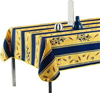 My Jolie Home Tablecloth Yellow and Navy Blue Olive Branch, Stain Resistant, Washable, Liquid Spills Bead up (60 x 95-Inch Oblong)
