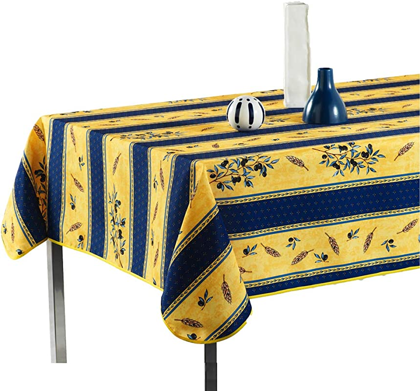My Jolie Home Tablecloth Yellow And Navy Blue Olive Branch Stain Resistant Washable Liquid Spills Bead Up 60 X 138 Inch