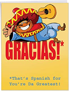 Funny Big Thank You Greeting Card with Envelope 8.5 x 11 Inch - 'Gracias! That's Spanish for You're da Greatest!' Mexican Musician Guitar Player - Appreciation for a Cartoon Personalized Thanks J9100
