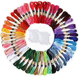 Premium Rainbow Color Embroidery Floss,50 Skeins Embroidery Floss with 20 Pcs Floss Bobbins,for Cross Stitch Threads,Friendship Bracelet Floss,Craft Floss,DIY Projects