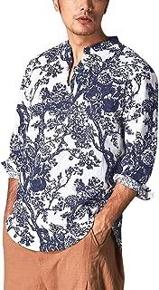 Men's Baggy Bohe Hem Cotton Linen Long Sleeve Hawaiian Shirt Men's Loose Shirts Blouse Tropical Hawaiian Shirt