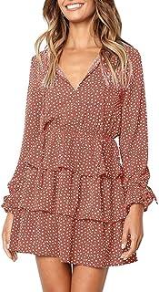 Imysty Womens V Neck Polka Dot Ruffles Long Sleeve Casual Loose Swing T-Shirt Dress