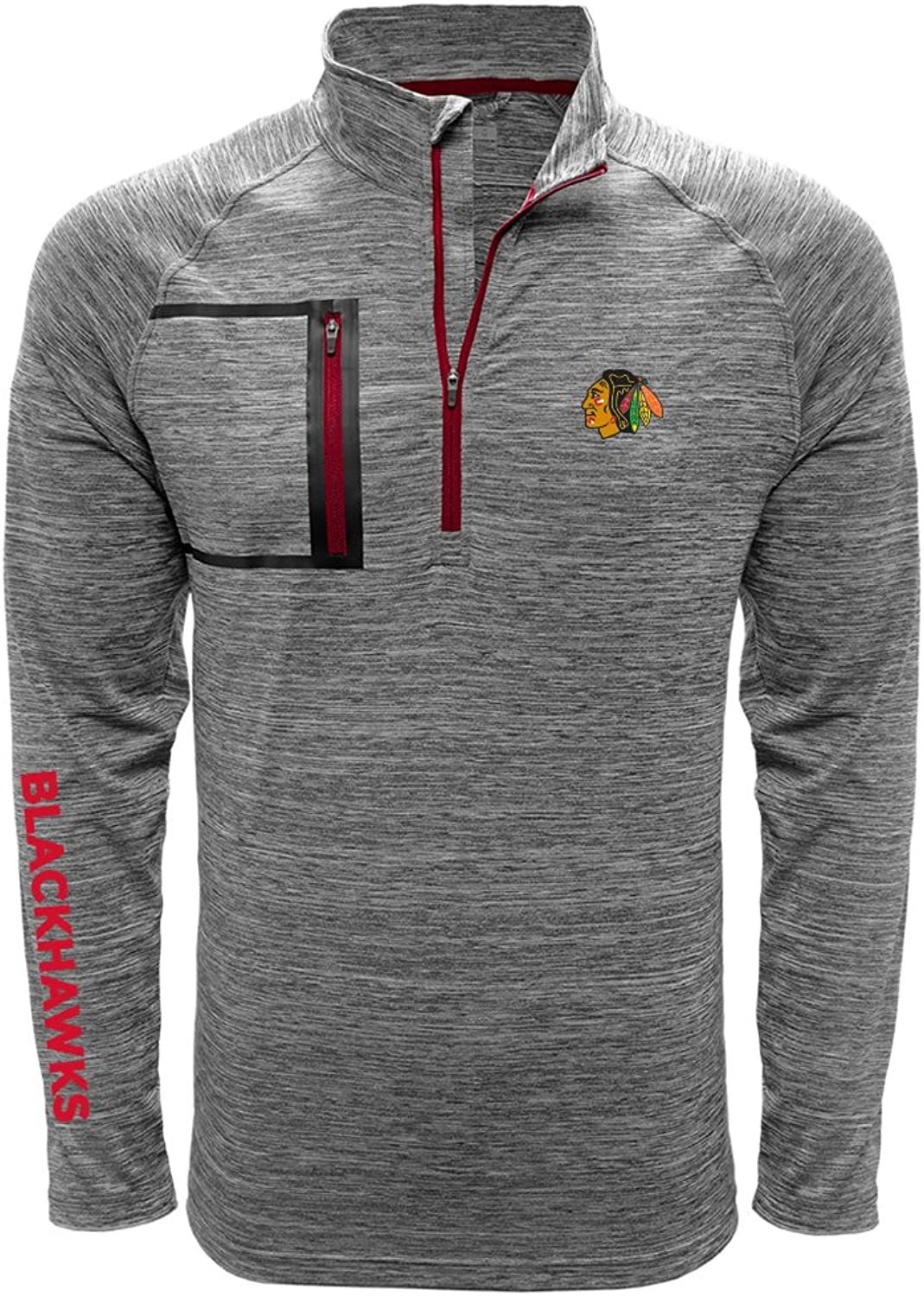 Levelwear LEY9R Men's Vault Wordmark Quarter Zip Mid-Layer Heather Charcoal Flame Red, X-Large