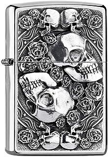 Zippo Feuerzeug Skull and Roses Collection 2019-Figura de Calavera, Plata, smal