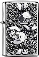 Zippo Aansteker SKULL AND ROSES-200-Zippo Collection 2019-2005891-49,95 €, zilver, smal