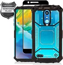 LG K30 LM-X410, Xpression Plus, Phoenix Plus X410AS, Harmony 2, CV3 Prime, Premier Pro LTE L413DL - Aluminum Metal Hybrid Phone Case + Tempered Glass Screen Protector - ZY1 Blue