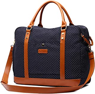 Cestina Cute Lady Women Canvas Travel Bag Weekender Overnight Bag Carry-on Duffel Tote Bag (Blue dot)