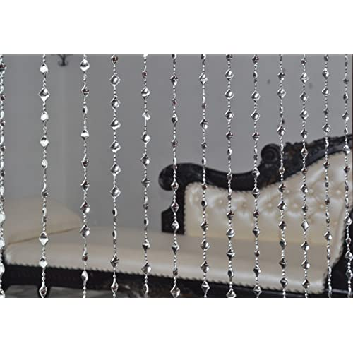 Pindia Strings Bead Curtain Kite Fancy Sparkling Door Window String Beads Thread Sheer Shear Rod Room Hanging Solid Silver 7 x 4 Ft