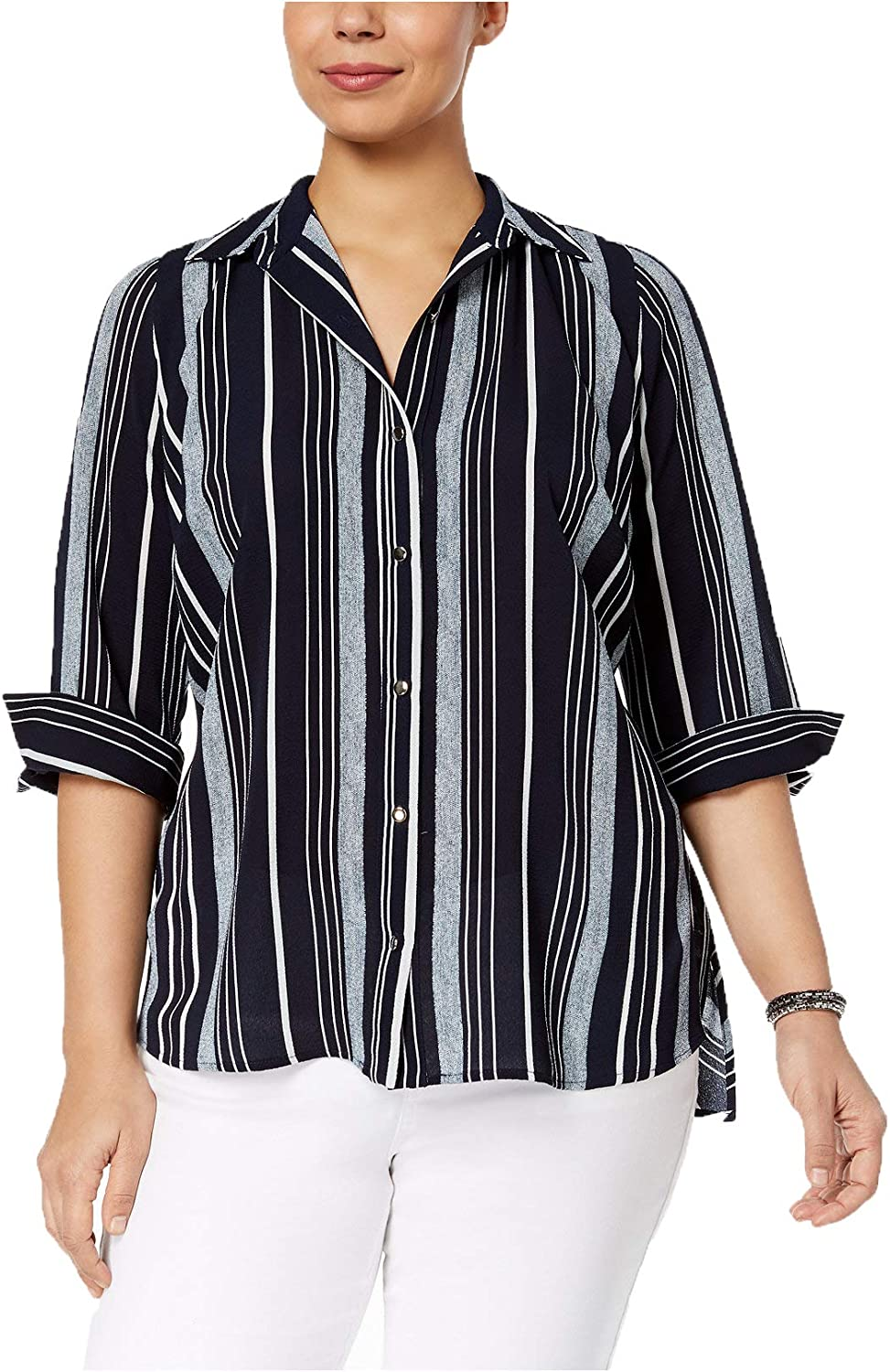 NY Collection Women's Petite Plus Size Multi-Stripe Shirt