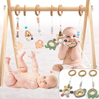 LaviElle Wooden Baby Gym Mobile Foldable 6 Hanging Bar Gym Toys Non Toxic Organic Vegan Newborn and Infant Activity Center...