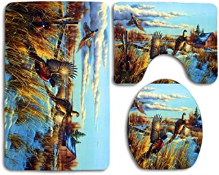 Barn Landscape Snow Pheasants Comfort Flannel Bathroom Mats,Anti-Skid Absorbent Toilet Seat Cover Bath Mat Lid Cover,3pcs/Set Rugs