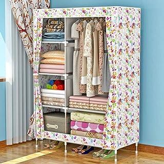HWG Armoire De Rangement Armoire Tissu Organisateur De Placard Portable avec 1 Tringle à Vêtements, 6 étagères pour Chambre,D