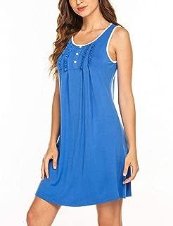 Womens Nightgowns Cotton Sleeveless Night Shirts Scoop Neck Sleep Dress S-XXL