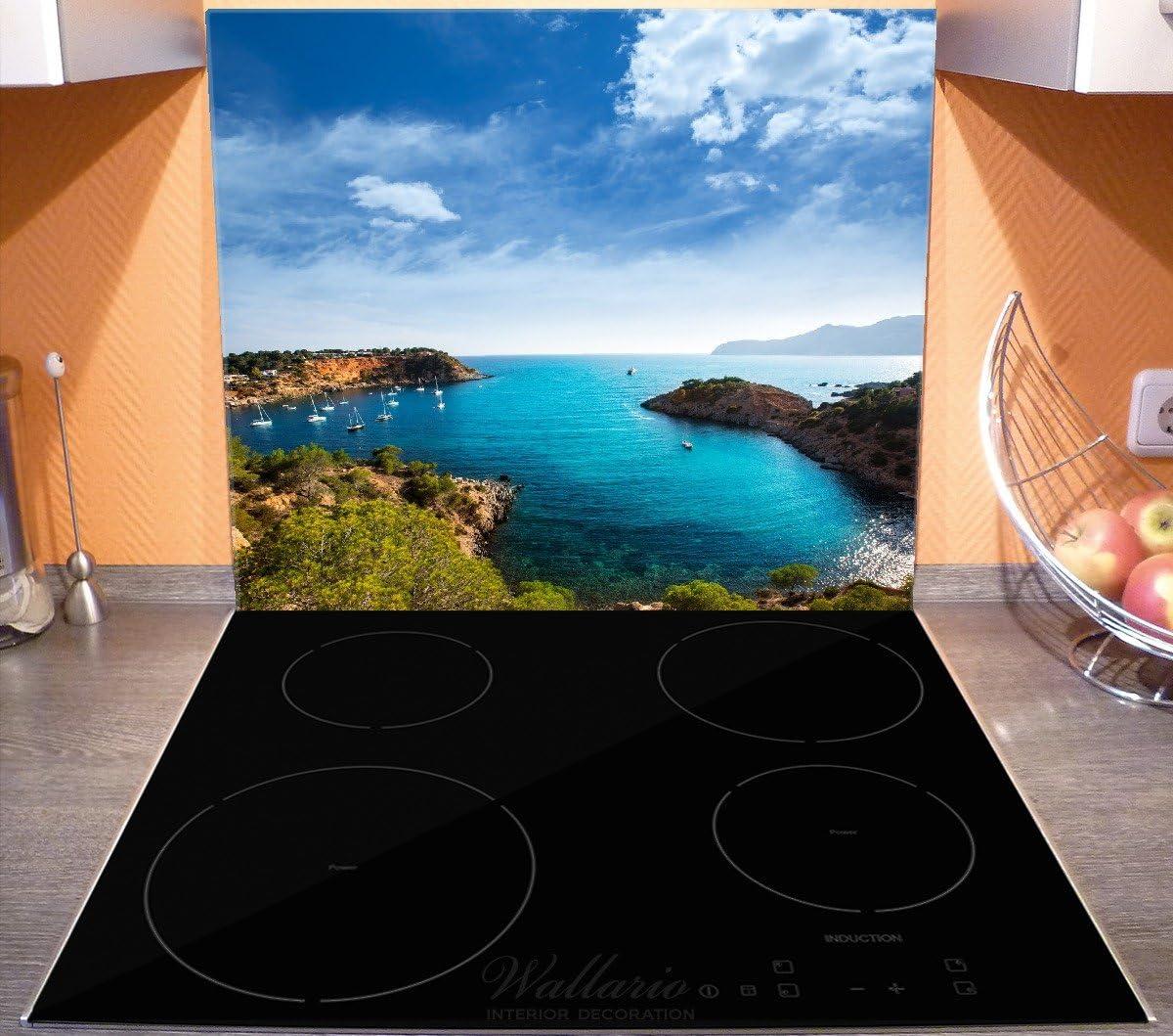 Wallario Herdabdeckplatte//Spritzschutz aus Glas f/ür Ceran- und Induktionsherde Ibiza Blick von Einer Bucht aufs Meer 1-teilig 52x60cm