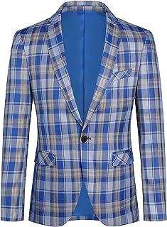 YOUTHUP Mens Check Blazer Stylish Plaid Blazers Classic 1 Botton Suit Jacket