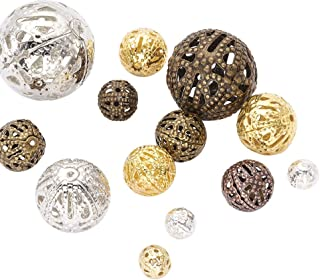 Pandahall 100pcs Mixed Style Iron Filigree Beads Round Loose Spacer Hollow Beads for Jewelry Makings Mixed Color 8-20mm Hole: 0.5-1mm