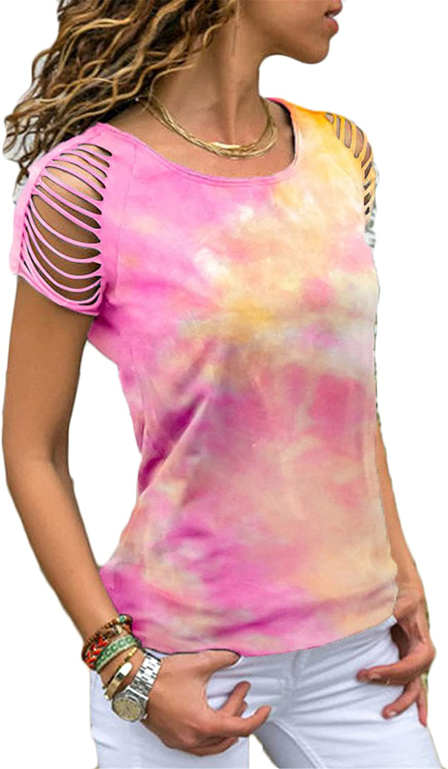 Andongnywell Women's Tie Dye Gradient Shirt Crewneck Off Shoulder Short Sleeve T-Shirt Loose Pullover Casual Color Top