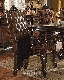 Acme Furniture 61103 Versailles Arm Chair (Set-2), 2T L-Brown PU/Fabric & Cherry Oak