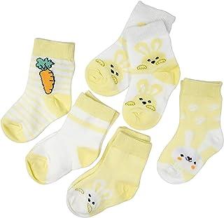 SYEEGCS - Calcetines para niños y niñas, de algodón, 5 pares, transpirables, cómodos, modelo Ravanillo, conejo, amarillo M