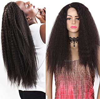 Kinky Straight Synthetic Wigs for Women long Wavy Lace Front Wig Side Parting Heat Resistant Replacement Wigs Natural Hair African American Wigs (Yaki-#4)