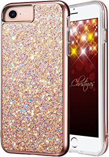 iPhone 8 Case, iPhone 7 Case, MIRACASE Luxury Bling Sparkle Dual Layer Hard PC Girls Women Cover Soft TPU Inner Shockproof Glitter Case for Apple iPhone 8/7 / 6/6s (4.7 inch), Rose Gold