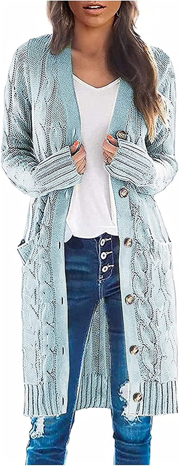 Cropped Sweater Women's Long Solid Color Casual Button Cardigan Knitted Sweater