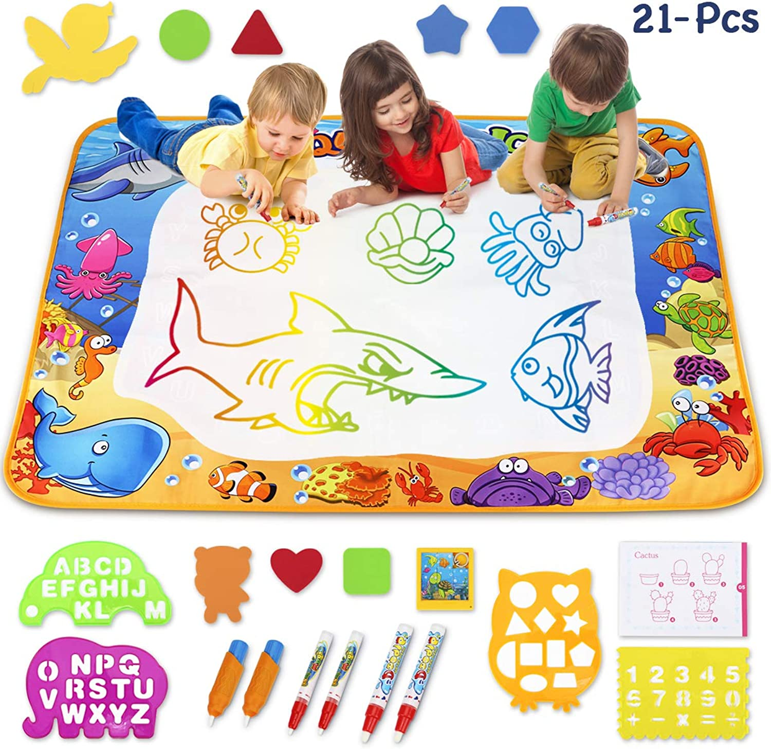 TOYK Aqua Magic Mat  Kids Painting Writing Doodle Board Toy  color Doodle Drawing Mat Bring Magic Pens Educational Toys for Age 1 2 3 4 5 6 7 8 9 10 11 12 Year Old Girls Boys Age Toddler Gift