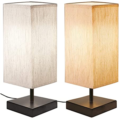 [2 Pièces] Lampe de Chevet Tactile, Bomcosy Lampe de Table Dimmable,D C5V USB Interface, Base Noire avec Abat-jour en Tissu, 4 LED Ampoules, Lampe de Chevet LED Moderne pour Chambre, Salon, Bureau